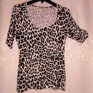 WHBM Leopard Cheetah Print scoop short sleeve top
